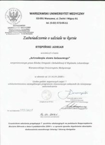 certyfikat artroskopia