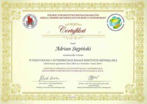 certyfikat badania kostne dxa