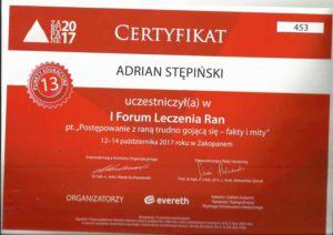 certyfikat rany zakopane